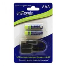 Аккумуляторы Energenie EG-BA-002 AAА- с mini USB разъемом для заряда (блистер 2 шт + кабельminiUSB)